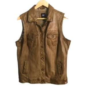 GAP Tan / Beige Leather Moto Style Sleeveles Vest